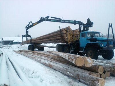 На строительную площадку завозим хлыстовой лес